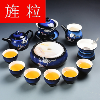 Continuous grain ceramic up of a complete set of tea service suit household with masterpieces YinJian kung fu lid bowl of red glaze