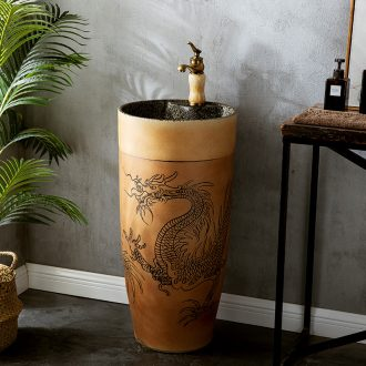 Ceramic column type lavatory sink basin one is suing courtyard floor type simple wash basin, small family