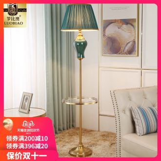 Nordic light floor lamp bedroom creative I and contracted sitting room sofa tea table of key-2 luxury all the copper ceramic vertical desk lamp