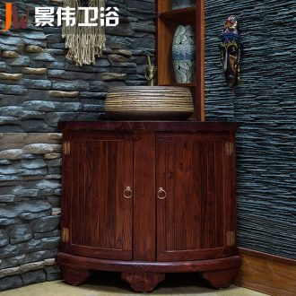 JingWei Chinese wind solid wood bathroom ark, sink combination ceramic lavatory combination the the original wooden fan for wash tank