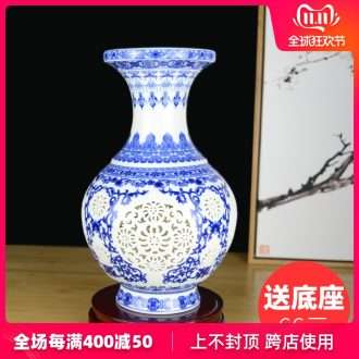 Blue and white porcelain of jingdezhen ceramics powder enamel vase creative Chinese style restoring ancient ways is sitting room ark, home furnishing articles