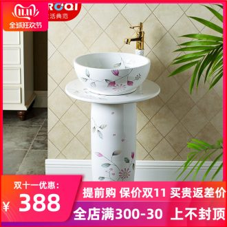 Ceramic floor pillar type lavatory small toilet lavabo balcony one basin, art basin of the post