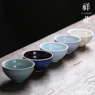 Auspicious industry kung fu tea sample tea cup home brother officer RuDing five ancient jun porcelain masters cup single large size one cup