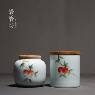 YanXiang fang hand - made pomegranate shadow celadon small caddy fixings bamboo cover sealing ceramic portable storage POTS