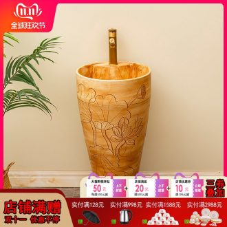 One - piece pillar carved lotus ceramics basin floor balcony is suing household toilet lavabo lavatory