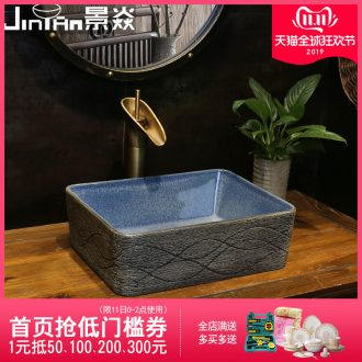 JingYan retro line art on the stage basin small rectangle ceramic lavatory basin of wash one small household size
