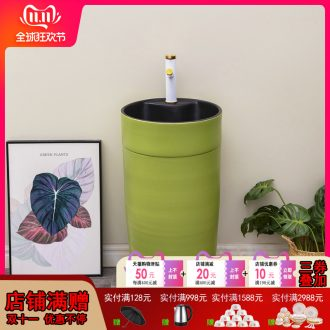Fruit green ceramic pillar lavabo household bathroom floor pillar basin contracted Nordic lavatory