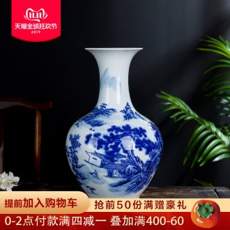 Jingdezhen blue and white porcelain vases, flower arrangement sitting room of Chinese style household ceramics study adornment handicraft furnishing articles gifts