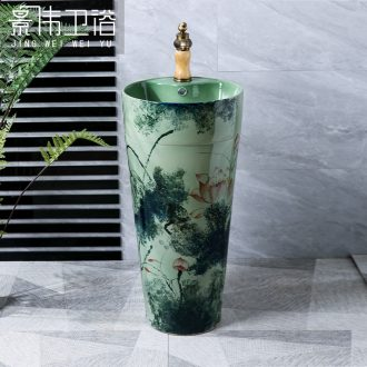 Green lotus one pillar basin vertical ceramic lavabo household of Chinese style cylindrical basin on floor balcony