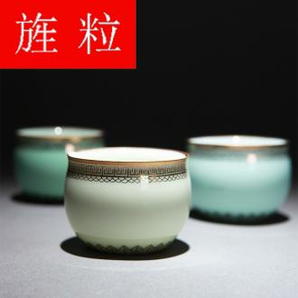 Continuous grains of gold paint jingdezhen ceramic all hand undressed ore longquan celadon glaze color sample tea cup tea cups
