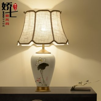 New Chinese style lamp bedside lamp hand - made ceramic vase decorated living room study bedroom cloth art desk lamp act the role ofing restoring ancient ways