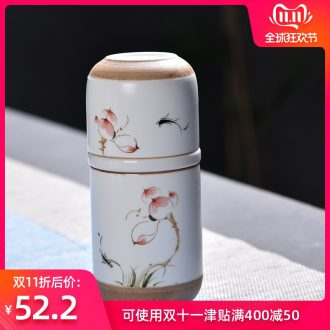 Hong bo acura hand - made portable travel kung fu tea tea cup ceramic filter with cover crack cup of a complete set of tea cups
