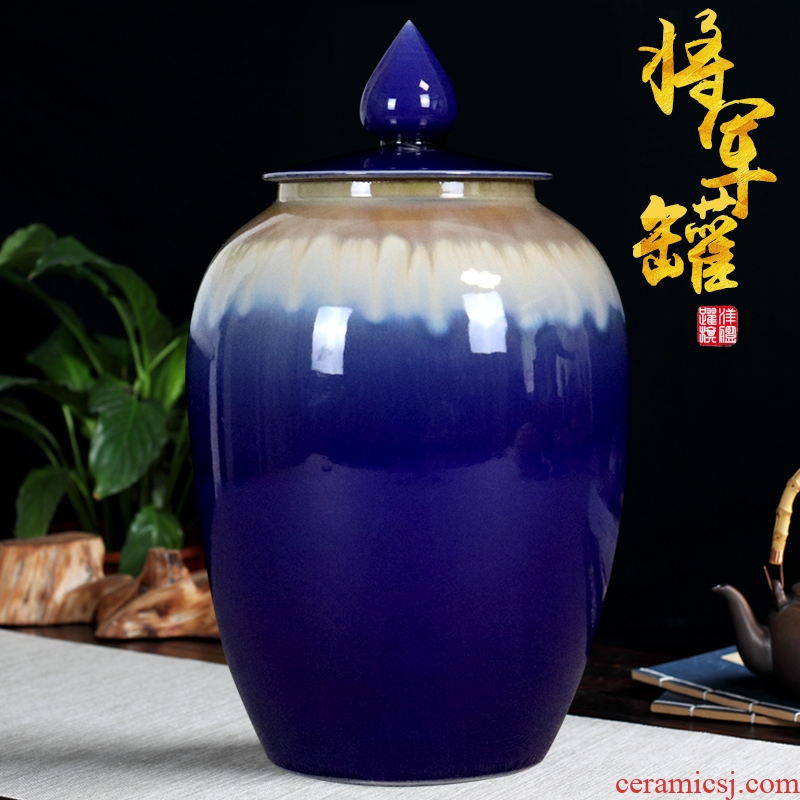 The General color glaze tank storage tank caddy fixings jingdezhen ceramics furnishing articles I household adornment handicraft