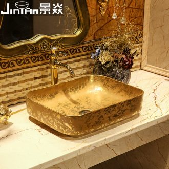 JingYan Venus snow art stage basin European ceramic lavatory rectangular basin on the sink