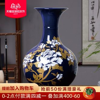 Jingdezhen ceramics blue vase peony flower arrangement of TV ark, home furnishing articles I and contracted sitting room adornment