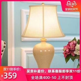New Chinese style full copper calving ceramic LED desk lamp contracted warmth of bedroom the head of a bed, creative move chandeliers
