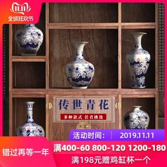 Jingdezhen ceramics vase hand - made antique Chinese blue and white porcelain flower arrangement home sitting room adornment rich ancient frame furnishing articles