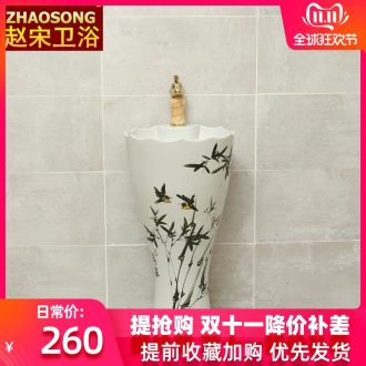 Pottery and porcelain of song dynasty household one - piece basin integrated basin is suing toilet lavabo courtyard floor pillar