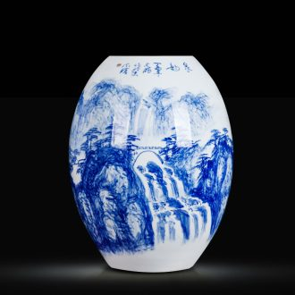 Blue and white ceramics jingdezhen large hand - made vases, flower arrangement sitting room porch decoration of Chinese style household furnishing articles