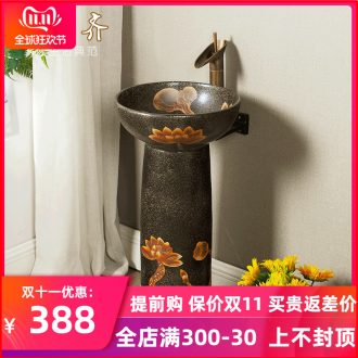Pillar type restoring ancient ways is suing the lavatory washbasins courtyard archaize ceramic is suing floor Pillar one basin