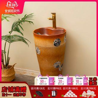 Retro ceramic column basin one balcony is suing patio floor type lavatory household toilet lavabo