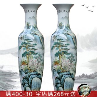Jingdezhen porcelain has a long history in the sitting room of large vase hand - made famille rose porcelain hotel large furnishing articles at feel