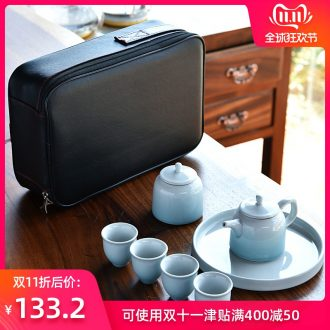 Hong bo the best portable bag tea set is suing suits for your up household contracted small Japanese ceramics kung fu tea set