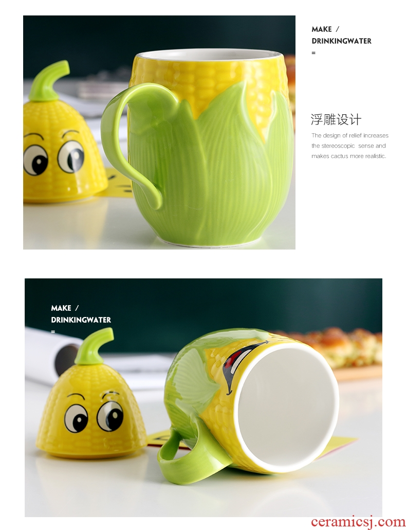 Creative move trend ceramic cup cartoon corn milk coffee cup picking keller cup of office