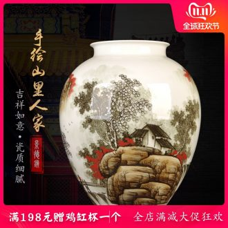 Jingdezhen ceramic vase furnishing articles landing of large modern Chinese style household porcelain flower arranging idea gourd wine accessories