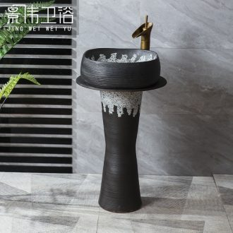 JingWei separation column column type lavatory basin of ceramics of Chinese style restoring ancient ways is the sink ground vertical basin