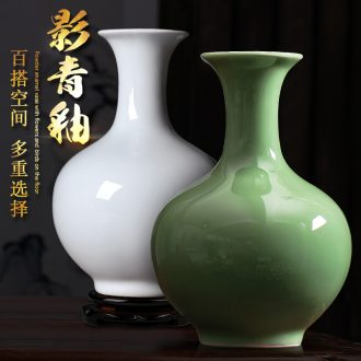 Jingdezhen ceramic film blue glaze dried flower vase furnishing articles sitting room porch rich ancient frame of Chinese style household adornment arranging flowers