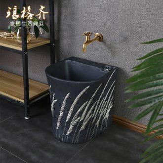The modern ceramic art mop pool small balcony toilet wash mop pool semicircle household mop pool