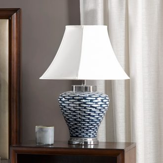 Harbor House blue Bai Fu Fish ceramic desk lamp American decorative lamps and lanterns of the sitting room the bedroom the head of a bed lamp Fish