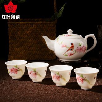 Red porcelain jingdezhen hand - made kung fu tea set home 5 head teapot teacup water point of a complete set of peach blossom put