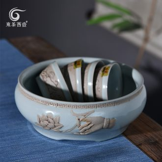 East west tea pot of your up in hot tea cup bowl of tea urn ceramic writing brush washer from the bucket water jar Fang Jianshui your porcelain tea to wash