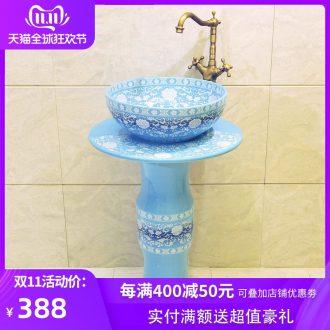 Ceramic column type lavatory floor pillar lavabo one - piece balcony column basin of household toilet