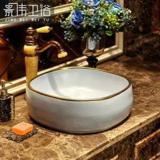 Nordic paint edge art stage basin European ceramic lavatory toilet lavabo household basin on stage