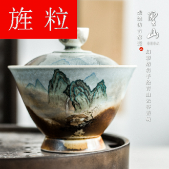 Continuous grain of wood up change hand - made qingshan tureen jingdezhen kung fu tea tureen Chinese ceramic tea tureen