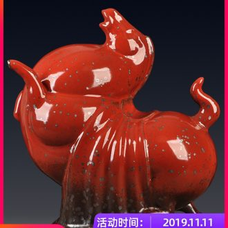 Jingdezhen ceramics variable glaze business needs new classical Chinese style gifts zodiac horses office decoration furnishing articles