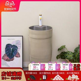 The Nordic ceramic basin of pillar type lavatory villa home one - piece floor column contracted bathroom sink basin