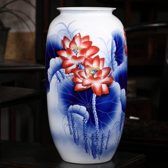 Jingdezhen ceramics hand - made antique Chinese blue and white porcelain vases, flower arrangement home furnishing articles large living room