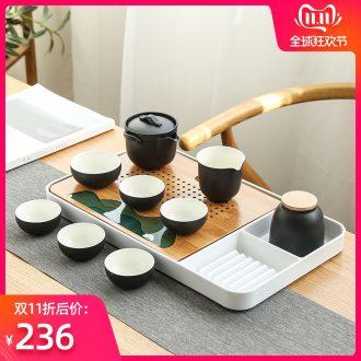 Bo yiu-chee Japanese hand grasp pot dry tea set ceramic household small sets of kung fu tea set contracted tea tea tray