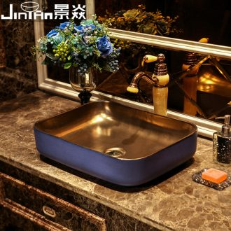 JingYan purple glaze art stage basin rectangular metal ceramic sinks ideas to restore ancient ways the basin that wash a face to the sink