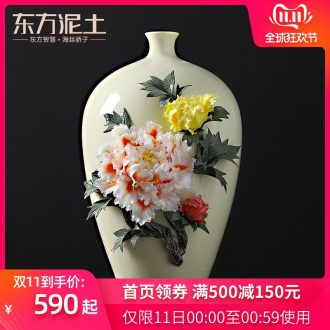 Oriental clay ceramic vase peony sitting room adornment is placed version into opening gifts/blooming flowers