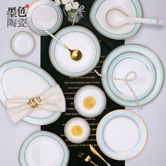 [directly] jingdezhen ceramic household jobs ipads plate fish dish dish dish dish plate cutlery set jade the qing