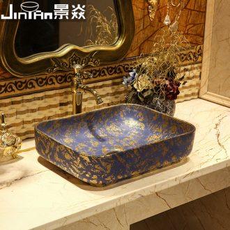 JingYan Venus snow art stage basin European ceramic lavatory rectangular basin on the sink basin