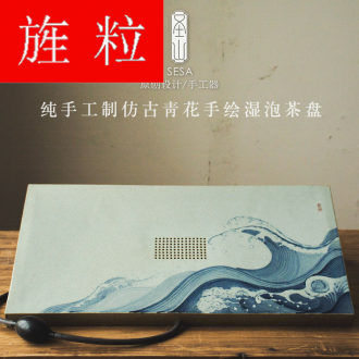 Continuous grain of the original large ceramic tea sets tea tray manual hand - made antique blue - and - white kung fu tea set drainage wet mercifully