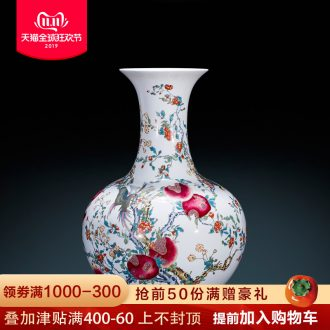 Jingdezhen ceramics antique imitation qianlong paint powder enamel vase sitting room adornment is placed large Chinese style decoration