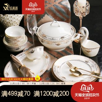 Light European - style key-2 luxury high - grade dishes suit household chopsticks sets combination up phnom penh move jingdezhen plate