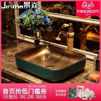 JingYan green metal glaze art stage basin creative lavatory toilet industrial ceramic lavabo wind restoring ancient ways
